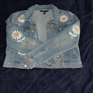 Flower Embroidered Jean Jacket